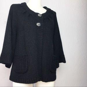 Style & Co. Black Heavy Cardigan Petite Large